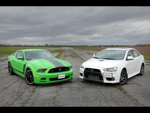 2013 Ford Mustang Boss 302 vs. 2013 Mitsubishi Lancer Evolution MR