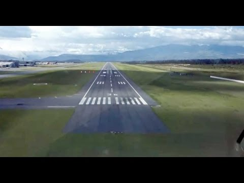 Approach and landing at the new Quito airport.