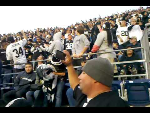 Raiders smash chargers. End of game celebration