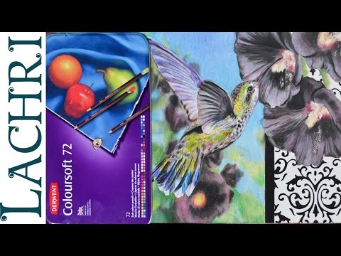 Derwent Coloursoft colored pencil review and speed drawing w/ Lachri