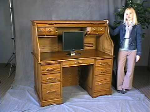 Oak Roll Top Computer Desk - In Stock - Free Shipping - YouTube