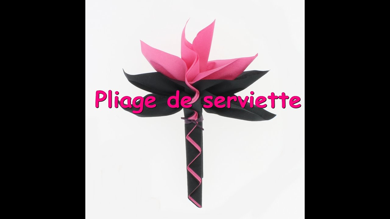 Tuto pliage de serviette palmier youtube - Serviette de table pliage ...