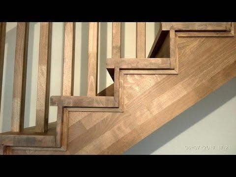 Лестница из бука на металлокаркасе под тонировку