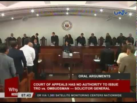 Court of Appeals has no authority to issue TRO vs Ombudsman — Solicitor General