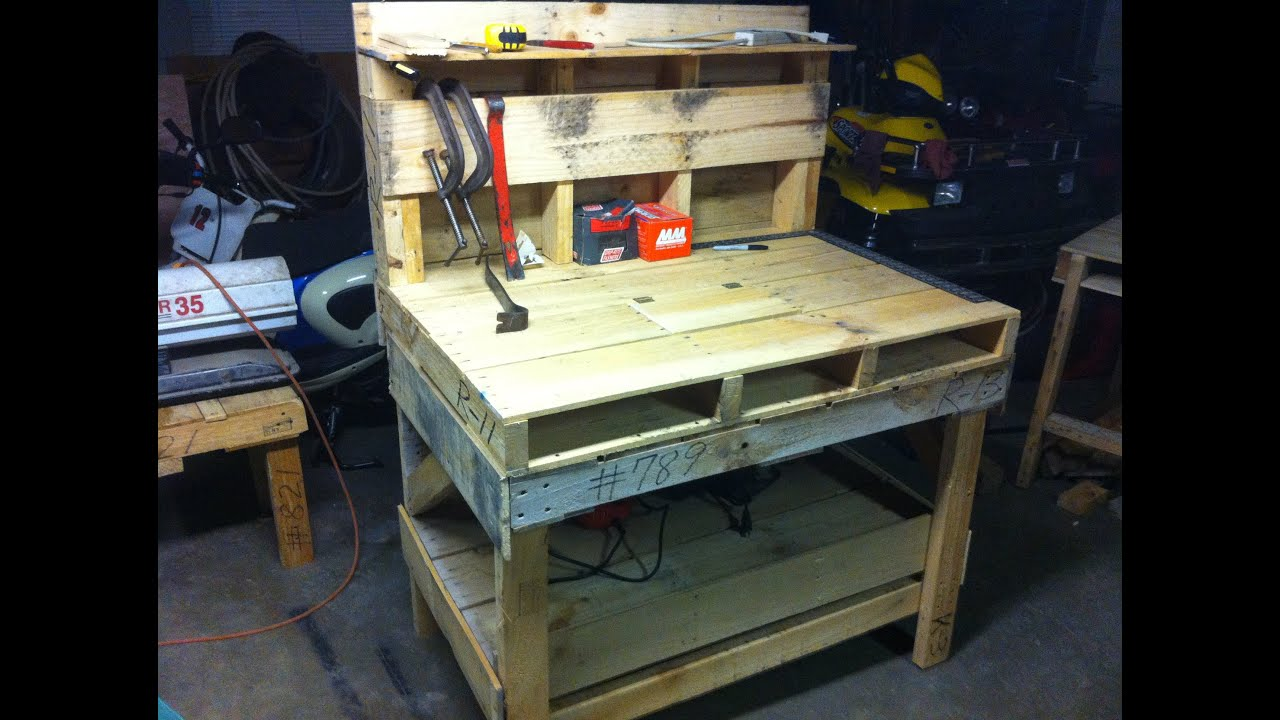 Pallet Work Bench - YouTube