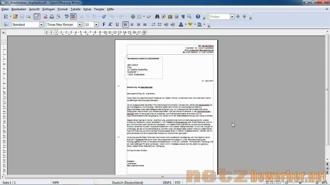 Brief Mit Openoffice Erstellen : Anschreiben in open office youtube