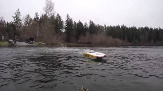 Gopro Boxing Day RC Boating 2014 Sproat Lake w/ Aquacraft Revolt and Lucas Oil Catamaran