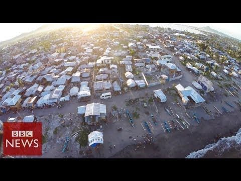 Aerials: Tacloban 6 months after Typhoon Haiyan - BBC News