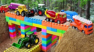 Bridge Construction Vehicles toys for kids Fire Truck, Dump Truck for children