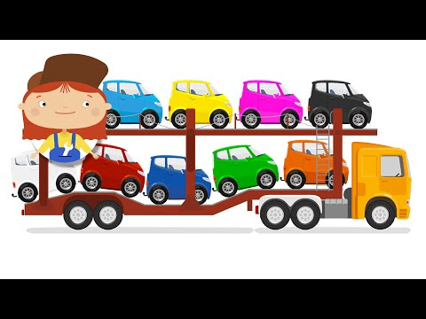 Kids Cartoon. Car transporter and the lost car