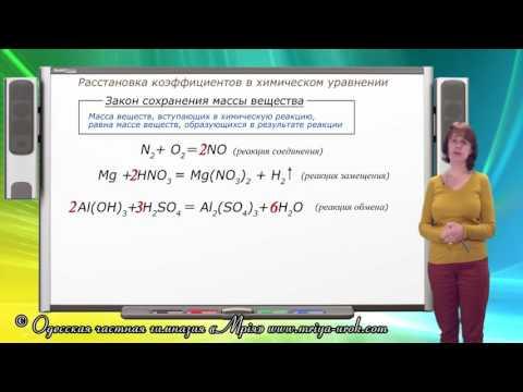 Расстановка коэффициентов в химическом уравнении
