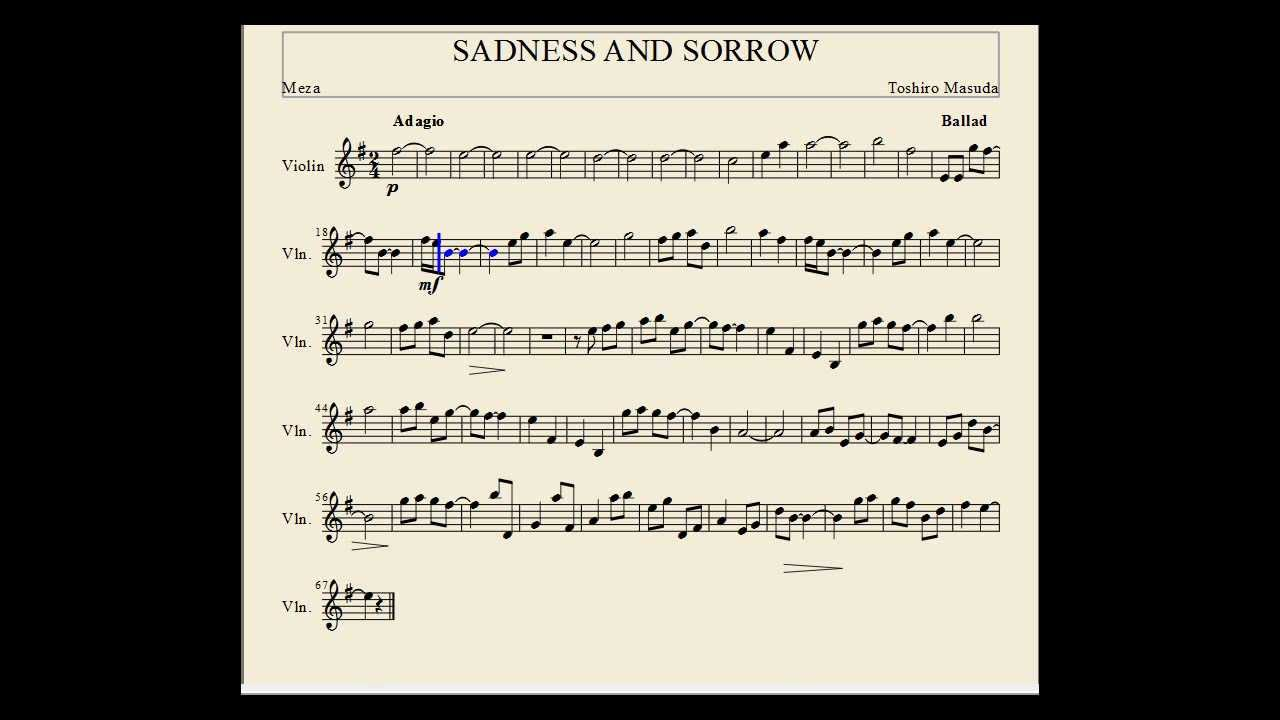 Naruto Sadness And Sorrow Sadness and sorrow Violin