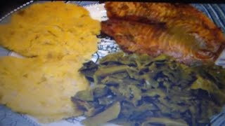 Foolin with Food #4  Fish, potato pancakes & Collards (requested)  | Over50andFantabulous