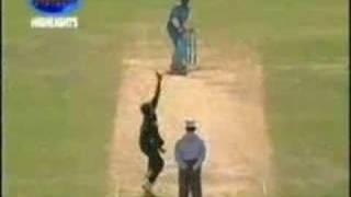 Cricket bowling at its best.  bowled ! bowled! bowled!