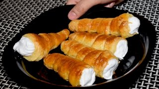 Cream Roll Recipe With Homemade Dough - Cream Puff Pastry Recipe by Kitchen with Amna