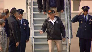 Raw Video: Trump Arrives at Beale AFB to Tour Wildfire Devastation