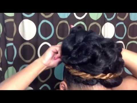 Natural Hairstyle Tutorial: Elegant Goddess Bun Updo Using Braiding Hair