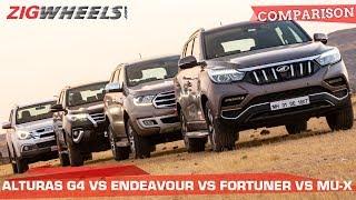 Mahindra Alturas vs Ford Endeavour vs Toyota Fortuner vs Isuzu MU-X: SUV SMACKDOWN! | ZigWheels.com