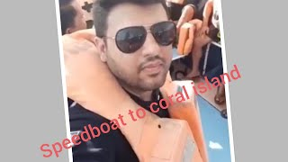 Speedboat to coral island so fast like a bullet train