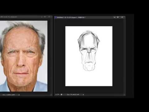 Caricature sketch of Clint Eastwood