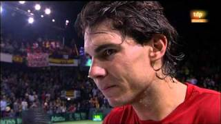 Davis Cup Day 1 Rafa's on court interview with Tomas Carbonell