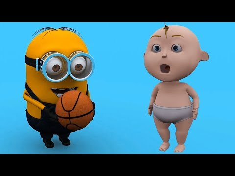 Funny Video For Kids With Baby And Minions Play Basketball - Learn Colors For Kids Collection