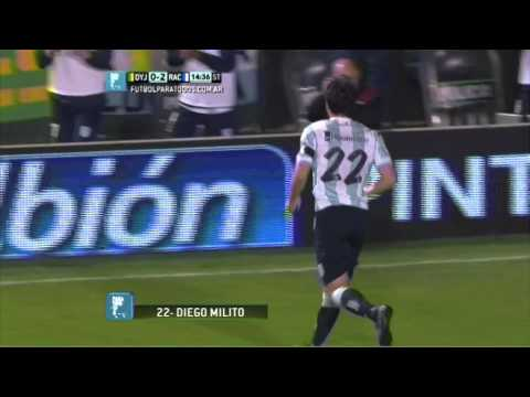Gol de Milito. Defensa 0 - Racing 3. Fecha 1. Torneo Primera División 2014. Fútbol Para Todos.