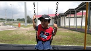Slide and swing - Kids playing swing and slides - Outdoor playground fun for kids