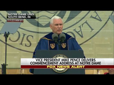 Student Walk Out of VP Mike Pence Notre Dame Graduation Speech