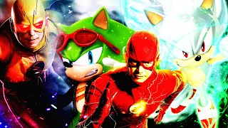 SONIC AND FLASH VS SCOURGE AND REVERSE FLASH CROSSOVER SPRITE FIGHT❗️ (SONIC, MARVEL, DC, DBZ)