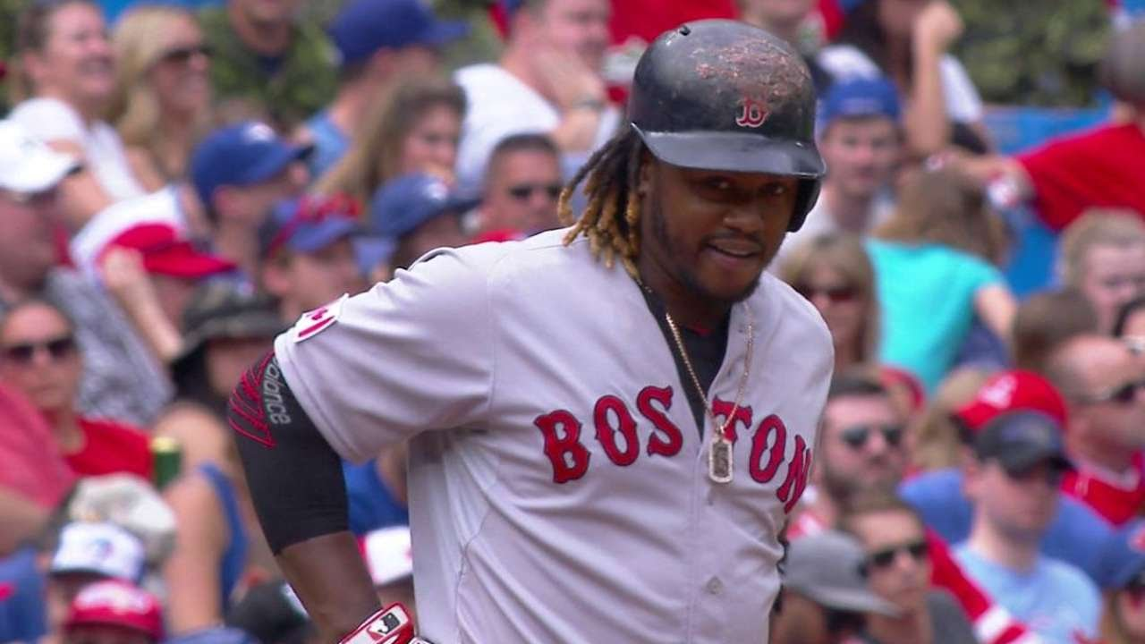 BOS@TOR: Hanley triples to lead off the 7th inning