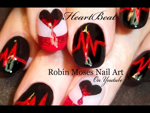Valentine Nails | Dripping Hearts Nail Art Design Tutorial - YouTube