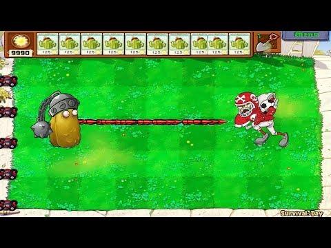 Plants vs Zombies - 1 Gatling Cactus-nut vs Football Zombie