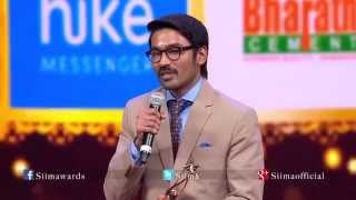 Micromax Siima 2015 | Best Actor Tamil | Dhanush | Velai Illa Pattadhari