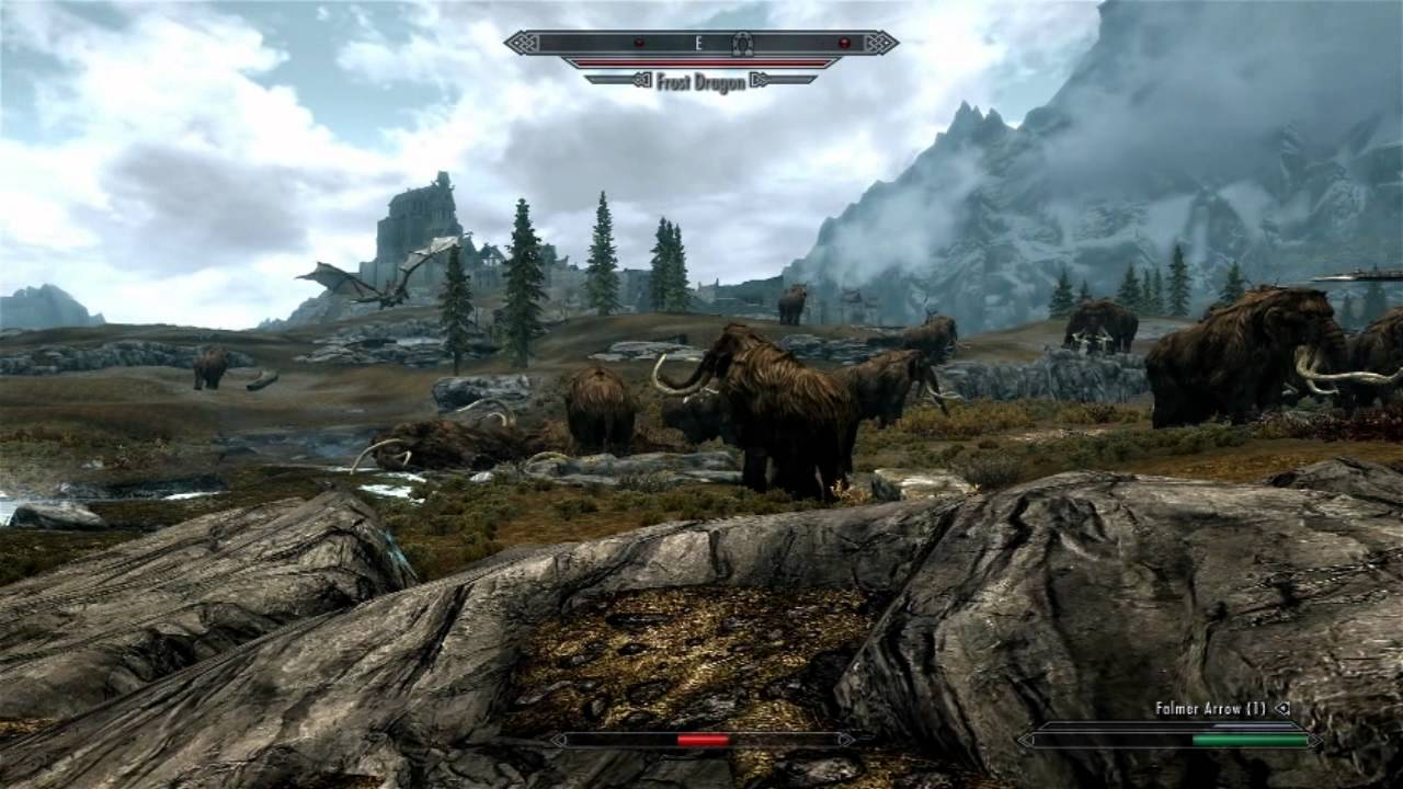 Skyrim Mammoth vs Dragon 1 | Dragons vs Mammoths