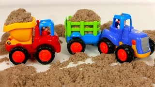 Vehicles for Toddlers! Dump Truck Cement Mixer Bulldozer and Tractor Working in Kinetic Sand