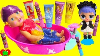 Baby Doll and LOL Surprise Dolls Bath Paints and Crayons Body Coloring