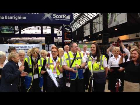 St Margaret of Scotland Hospice at Queen Street Station - 500 miles with Scotrail staff - 08/03/2014