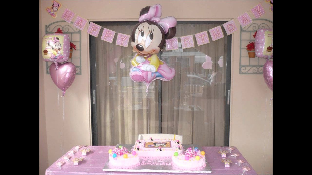 Minnie mouse birthday decoration youtube for Baby birthday decoration images