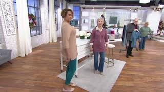 Denim & Co. Essentials 3/4 Sleeve V-Neck Tunic with Side Slits on QVC