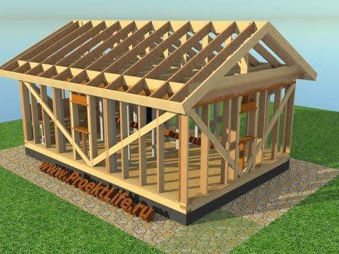 Каркасная баня - Каркасная баня с односкатной крышей - 0