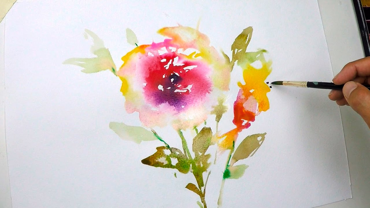 HOW TO PAINT A FLOWER IN WATERCOLOR Tutorial Step by Step Anemone