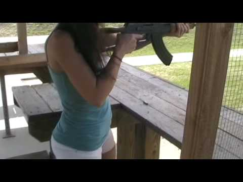Christina Firing Romanian AK-47 7.62x39mm Rifle Video