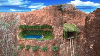 Build Most Secret Underground Bamboo Swimming Pool And House On The Cliff