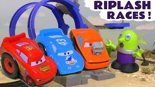 Disney Cars Lightning McQueen Riplash Races with Funny Funlings and Superhero cars TT4U