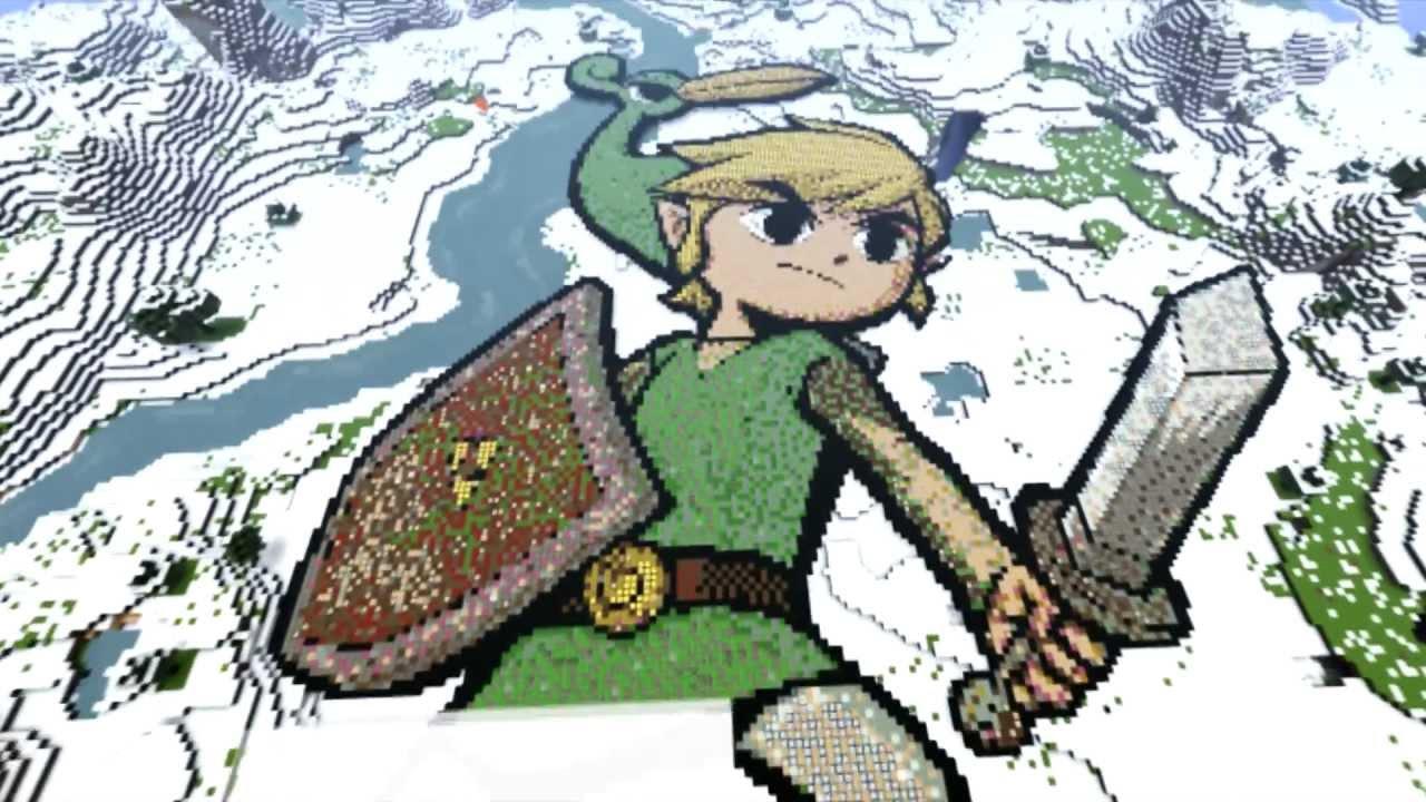 Zelda Toon Link Minecraft Pixel Art Youtube