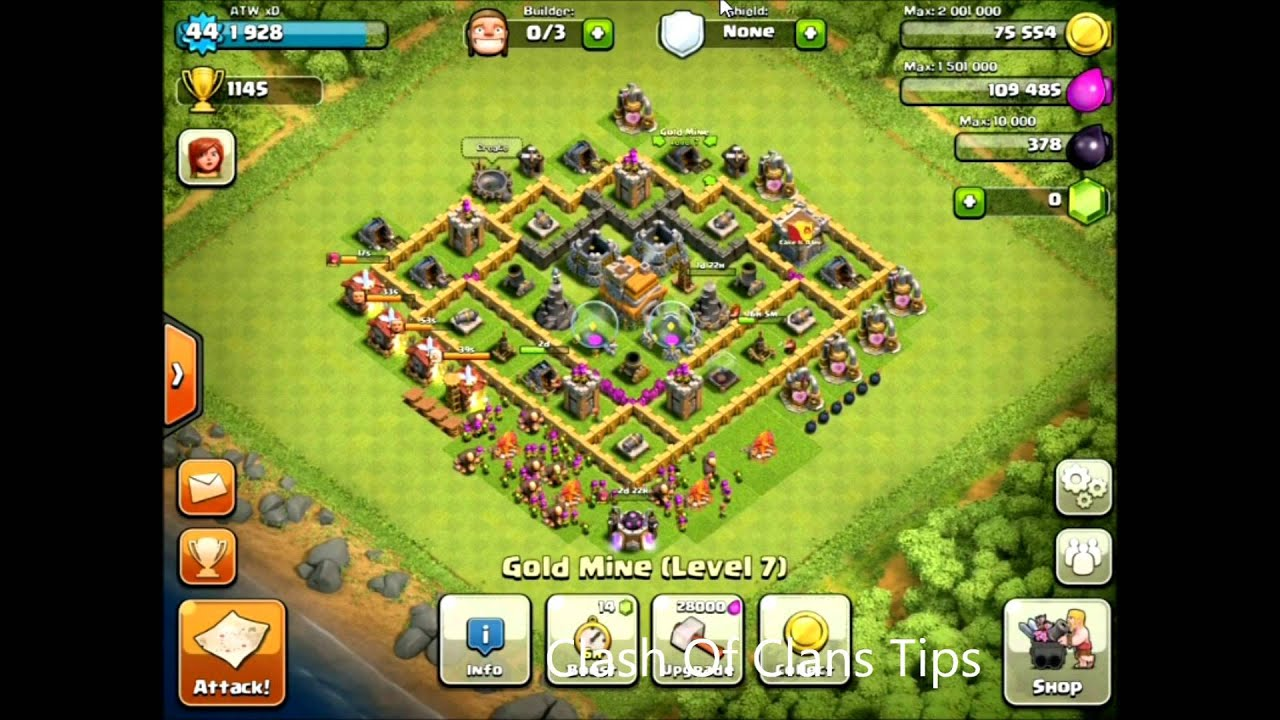 Clash of clans town hall 7 base defense youtube