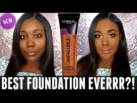 NEW L'OREAL INFALLIBLE TOTAL COVER FOUNDATION REVIEW & DEMO  Acne Scars / dark skin 2017