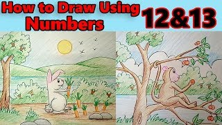 how to draw a rabbit using numbers for preschool kids & beginners | Doodles For Toddlers