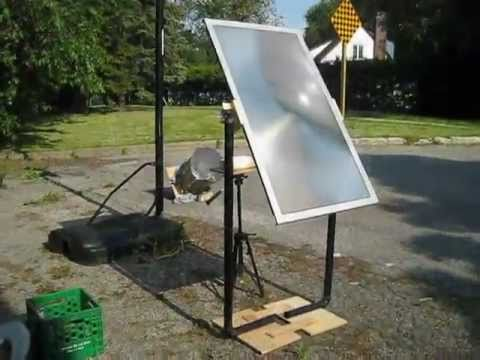 Fresnel Lens Solar Cooker Using Tv Lens Youtube